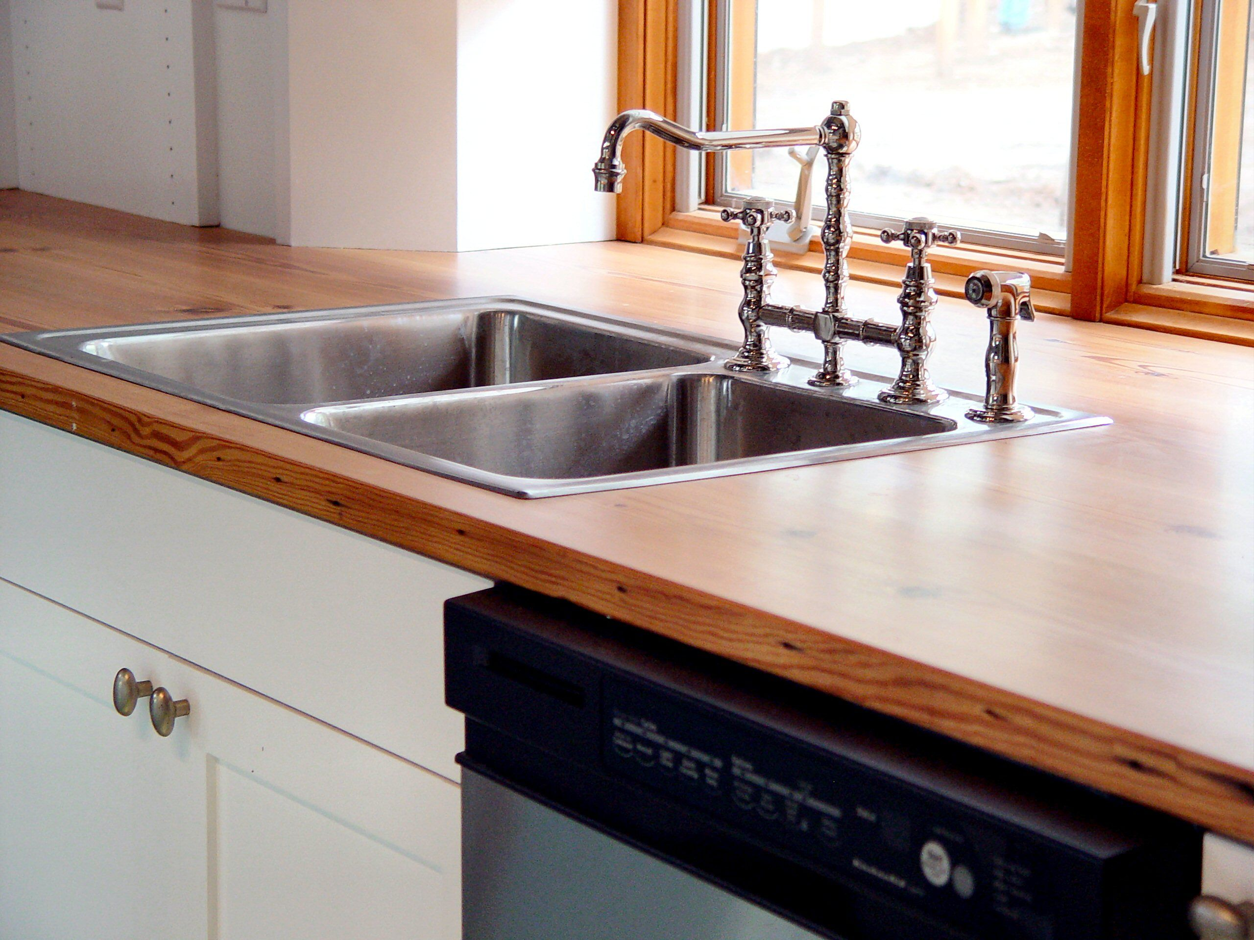 Custom Solid Wood Reclaimed Antique Longleaf Pine Counter Top With Top Mount Sink Wood Countertops Kitchen Wood Countertops Countertops