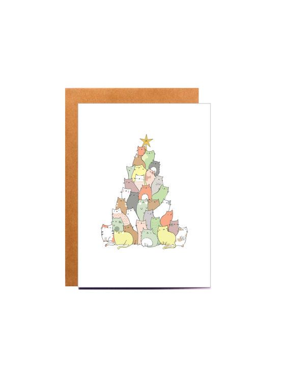 Cat Christmas Card Funny Christmas Card Christmas Tree Christmas Card Pack Christmas Card Set Handmade Cat Gift Ideas Cat Lover Gift Painted Christmas Cards Buy Christmas Cards Funny Christmas Tree