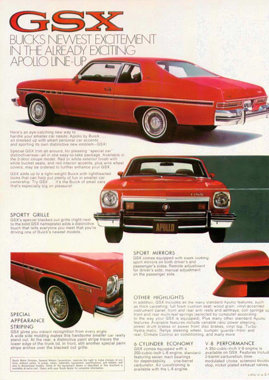 1974 Buick Apollo Gsx Folder 02 03 Buick Apollo Buick Automobile Advertising