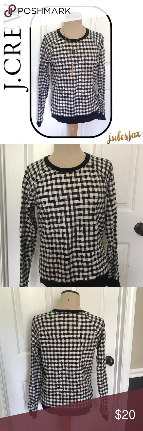 Flannel cardigan womens  JCrew sz M blackwhite check plaid sweater  Black trim Scoop neck
