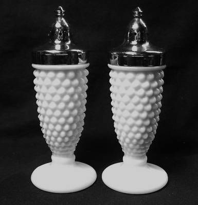 hobnail light cover | FENTON HOBNAIL MILK GLASS SALT AND PEPPER SHAKERS Completed