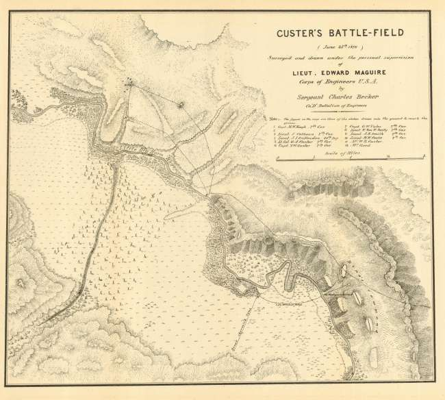 Map Of The Battle Of Little Big Horn Battle Of The Little Big - Little bighorn river location on us map