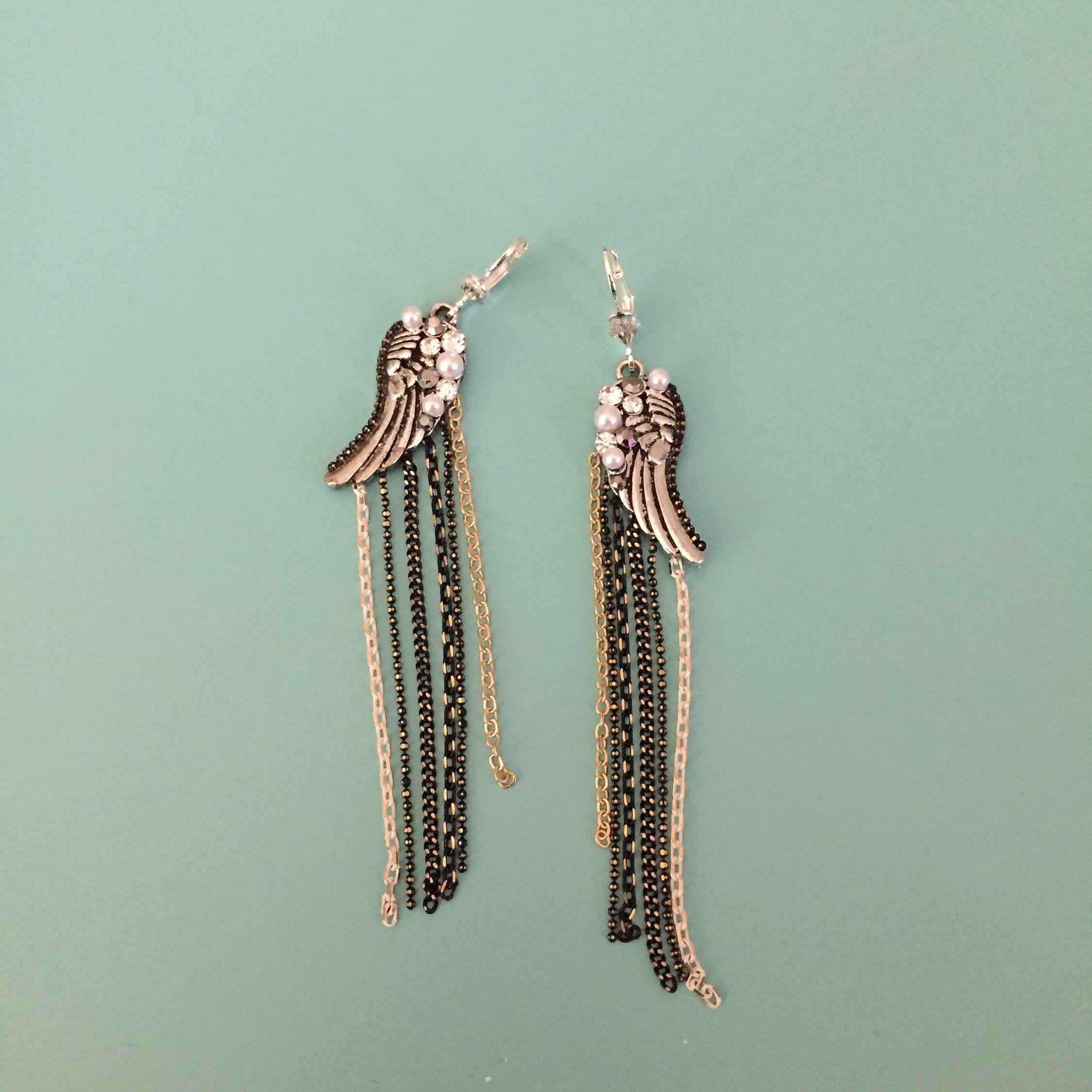 95e99ea21 Art Deco Earrings/ Chain Earrings/ Dangle Earrings/ Black Earrings/ Boho  Earrings/ Statement Earrings/ Silver Earrings/ Crystal Earrings by ...