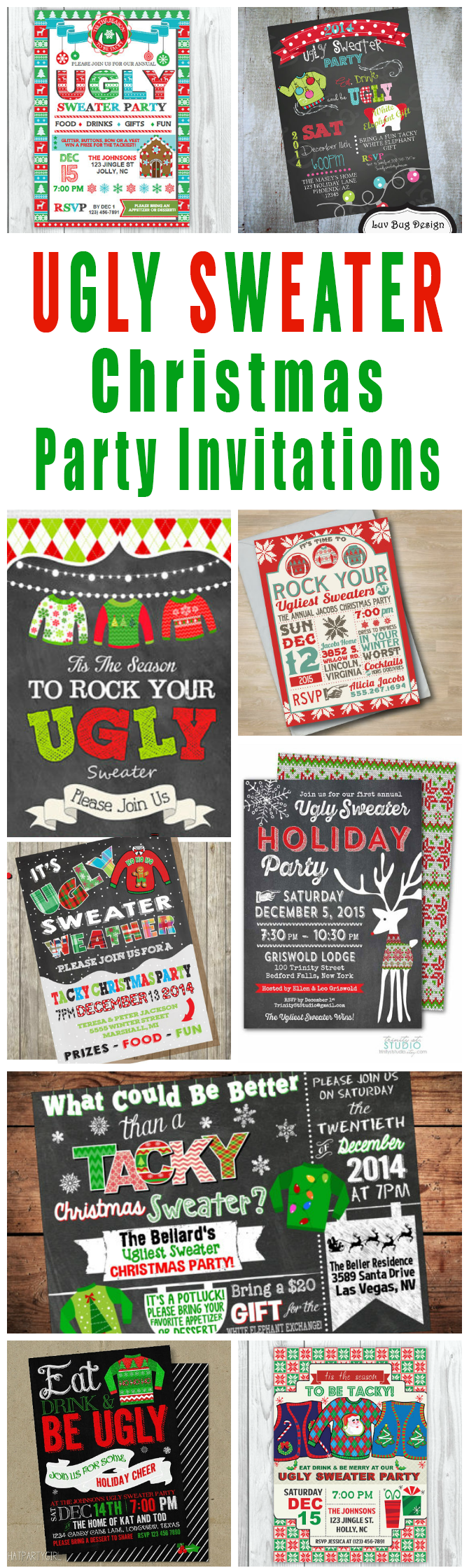 Office christmas party best images collections - A Tacky Collection Of Ugly Christmas Sweater Party Invitations And Other Ugly Sweater Christmas Party Printables