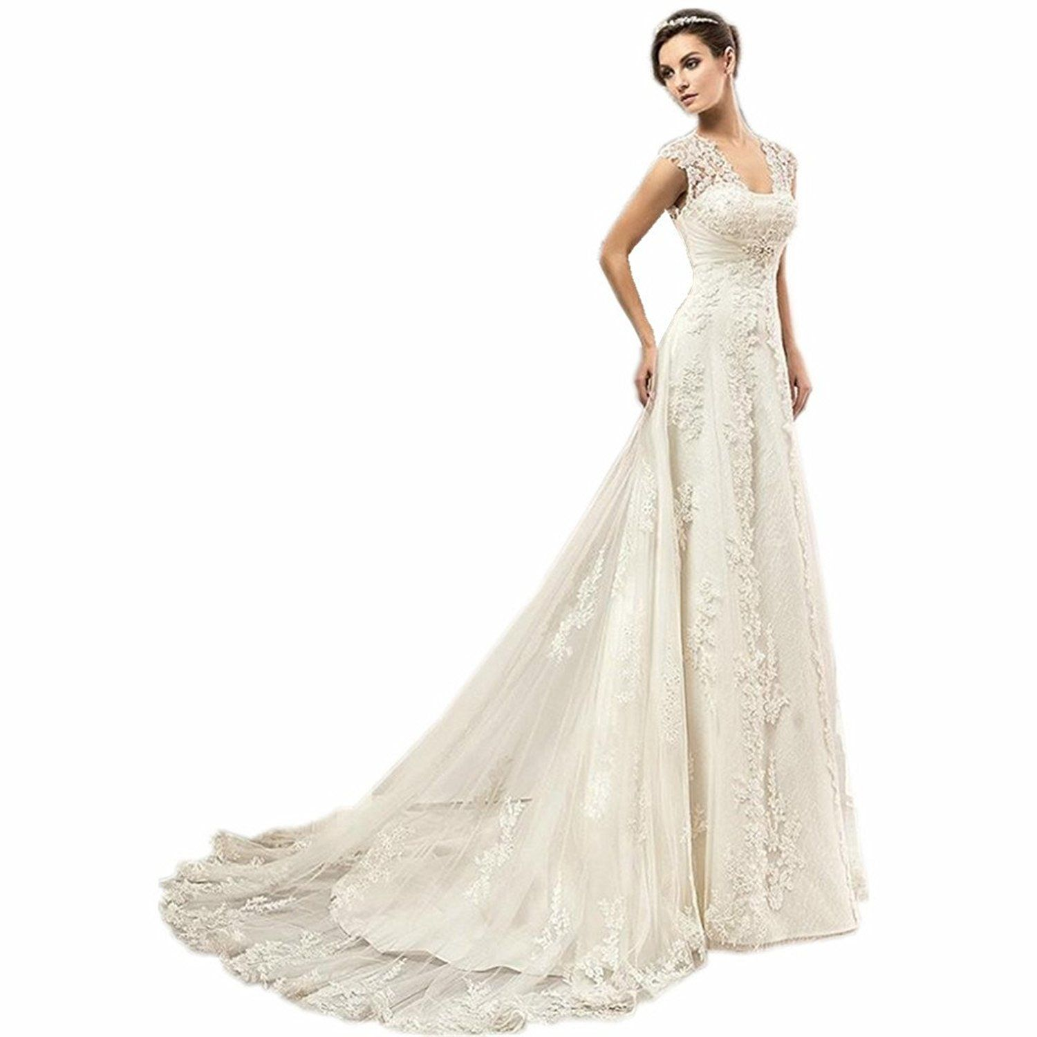 Yuakou womenus sexy cap sleeve beaded lace wedding dress for bride