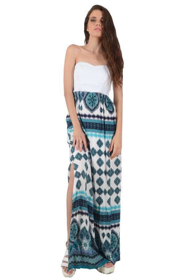 3f5377df6e18 Φόρεμα με εμπριμέ έθνικ η φούστα και μονόχρωμο μπούστο μακρύ σε ίσια γραμμή  με ανοίγματα πλάι