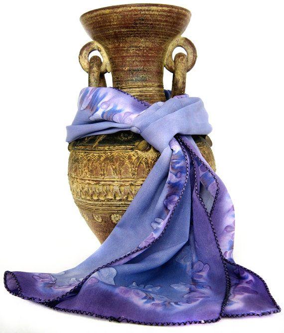 Indian Handpainted Silk Scarf in steel blue gray and violet, henna vine motif by KavitaKriti, $32.00 #etsy #silkscarf #indian #silkpainting #kavitakriti #bluesilkscarf #henna #boho #gypsy #hippie #hippy #yyc #calgary
