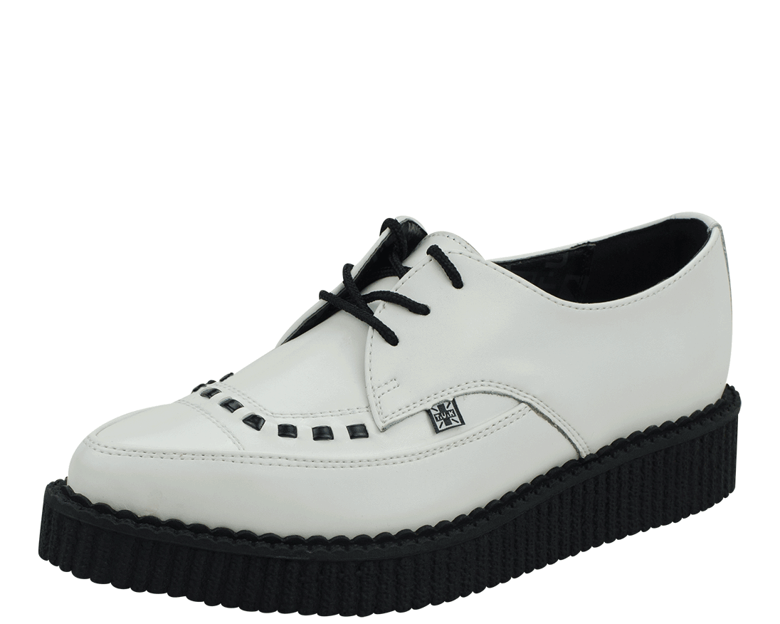 A8468 - White Leather Pointed Toe Low Sole Creepers | #TUK
