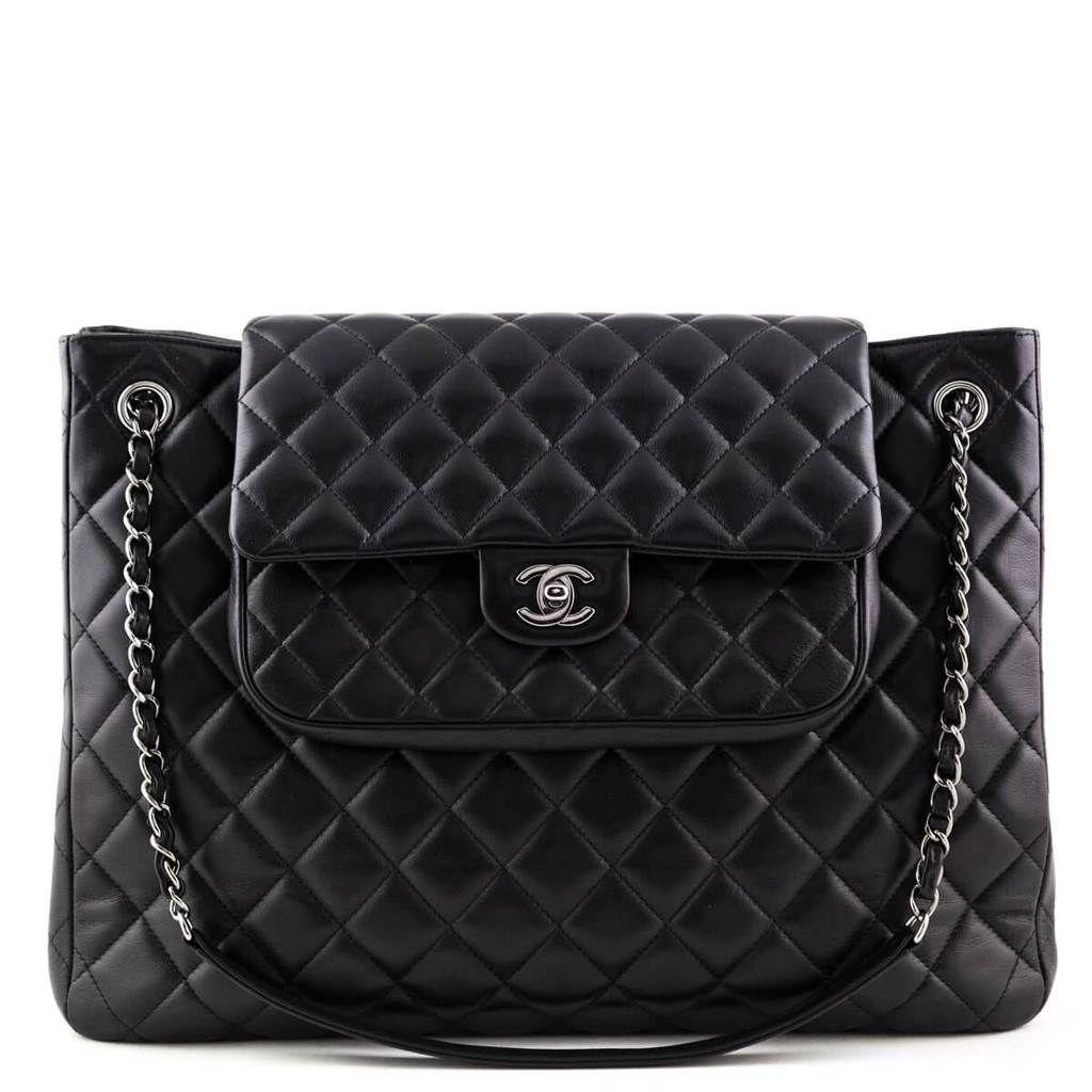Chanel Black Lambskin Large Flap Shopping Tote Chanel Bags Canada Chanel Bag Bags Women Handbags