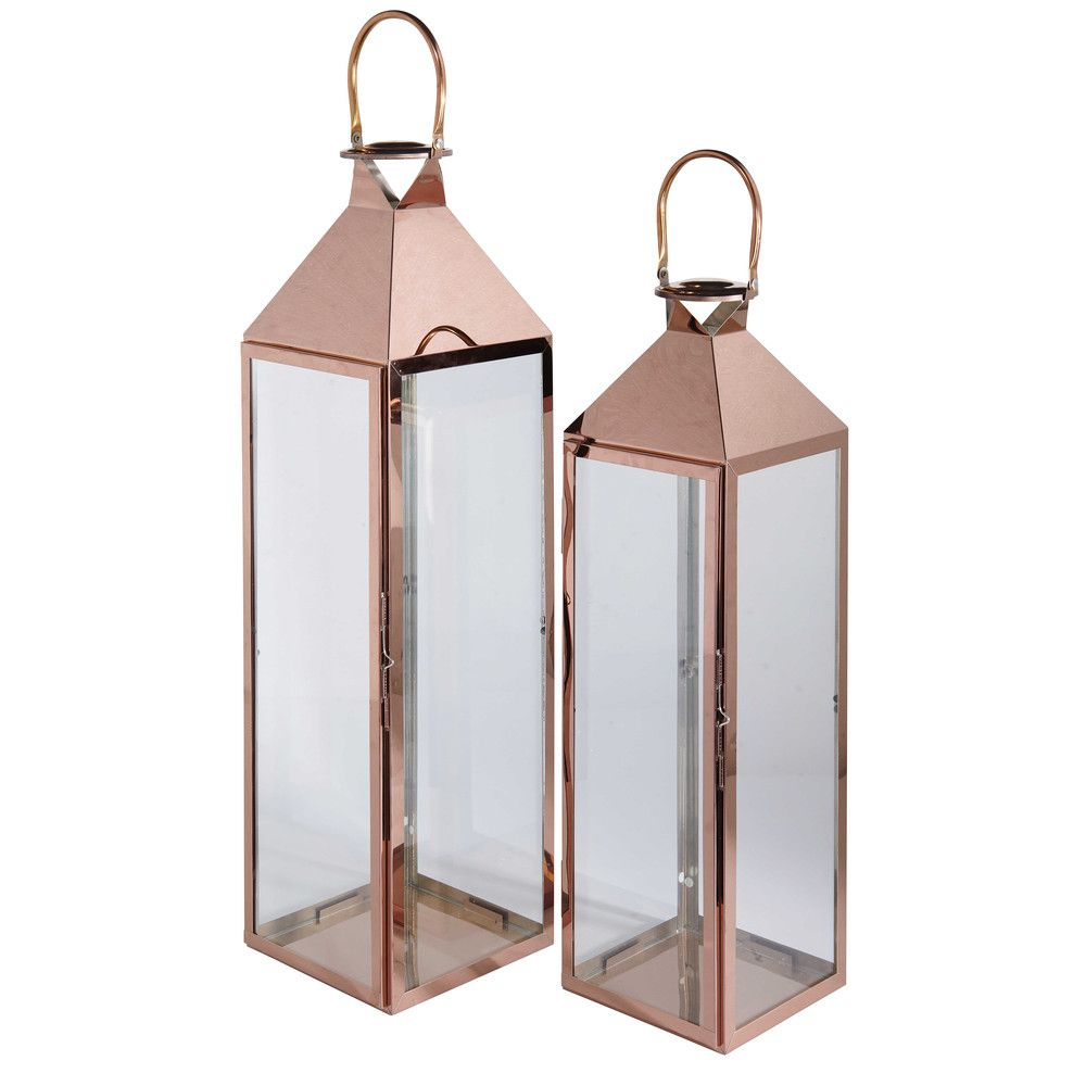 2 metal and glass lanterns heritage maisons du monde