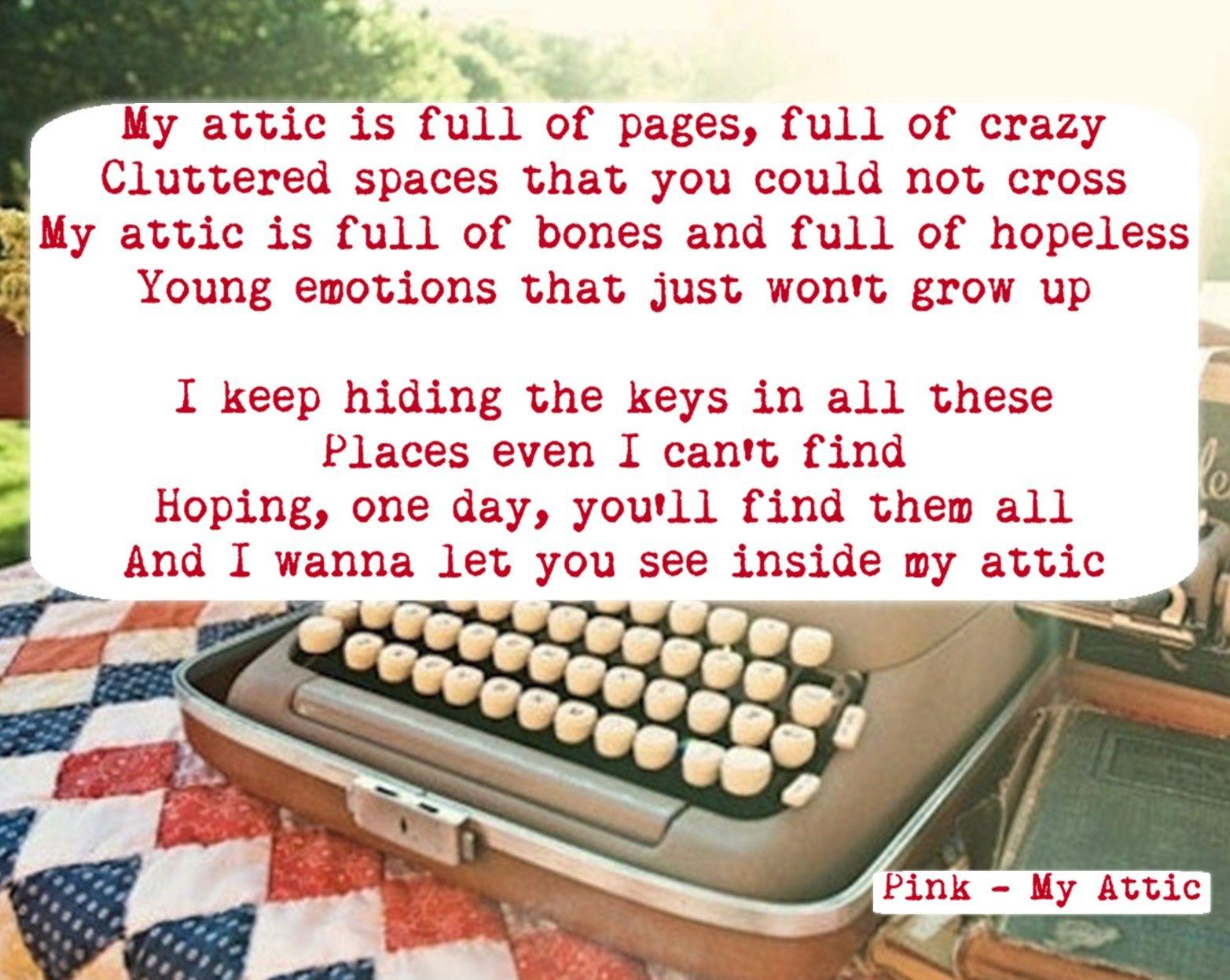 Pink   my attic   Pink lyrics, Cool lyrics, Music lyrics