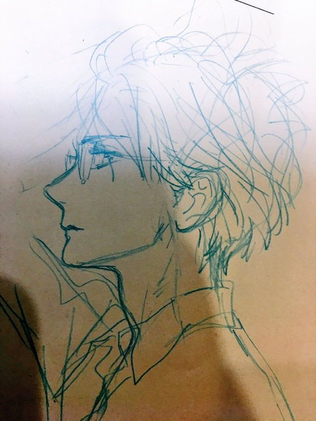Doodle As I Was Walking Around My Eyes Wandered Onto A Person With A Beautiful Profile I Admire Those Anime Side View Anime Drawings Sketches Anime Drawings