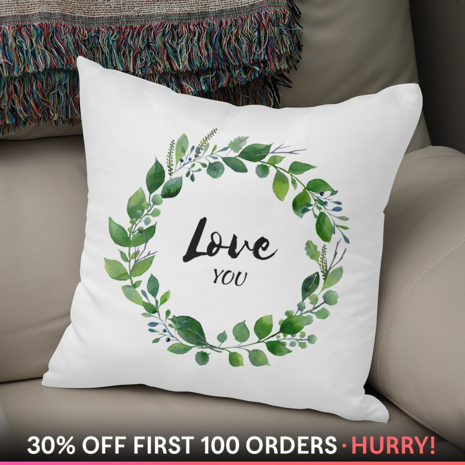 Watercolor green wreath with declaration of love throw pillow by