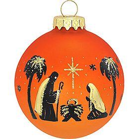 Ebony Holy Family Silhouette Orange Glass Ornament - 1135685 - $7.99 #nativity #orange #holyfamily #ornament #Christmas #BronnersChristmasWonderland #Bronners