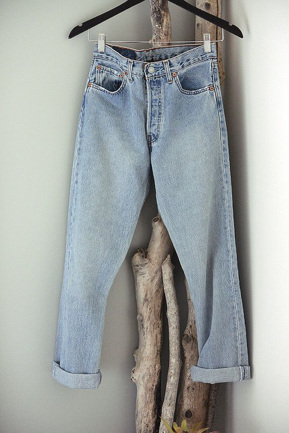 ec599fc2 Vintage lighter-wash, Levis 501 denim, button-fly, Boyfriend jeans. These  are what a true old school boyfriend jean should fit like. They are a size