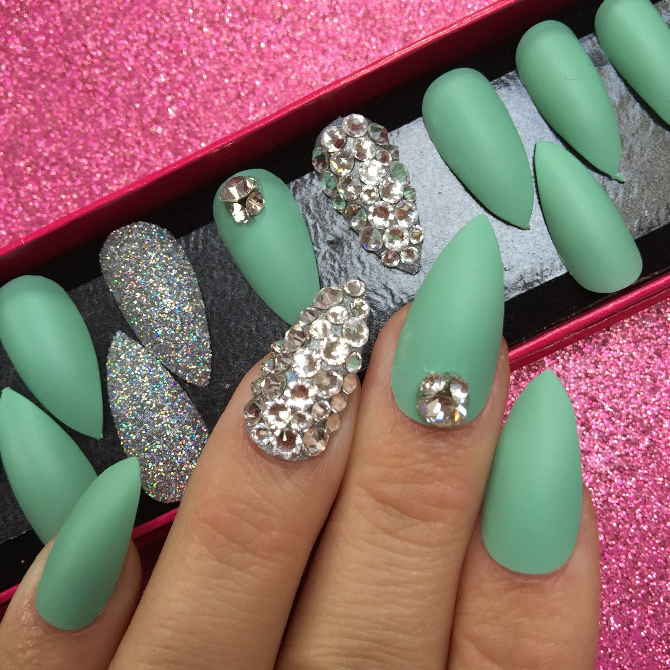 Matte mint nails with Swarovski crystals | Makeup and nails ...