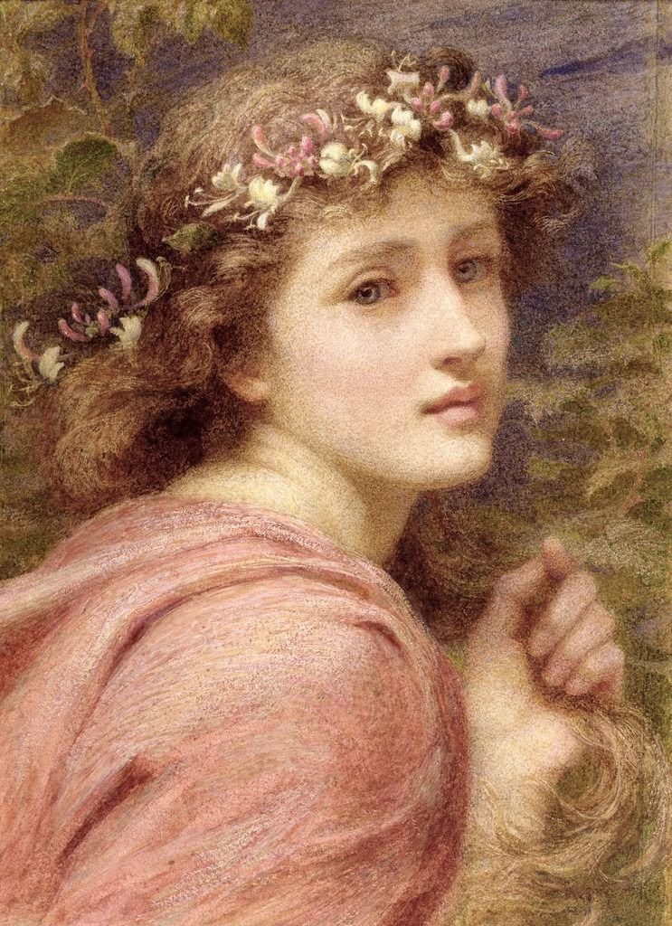 With blossoms brave bedecked daintily;Whose tender locks do tremble every one ,At everie little breath, that under heaven is blowne (1894). Constance Phillott(British, 1842-1931). Title is taken fromThe Faerie Queene,Book I, The Legend of the Knight of the Red Crosse,Canto VII.Edmund Spenser (1552?–1599).