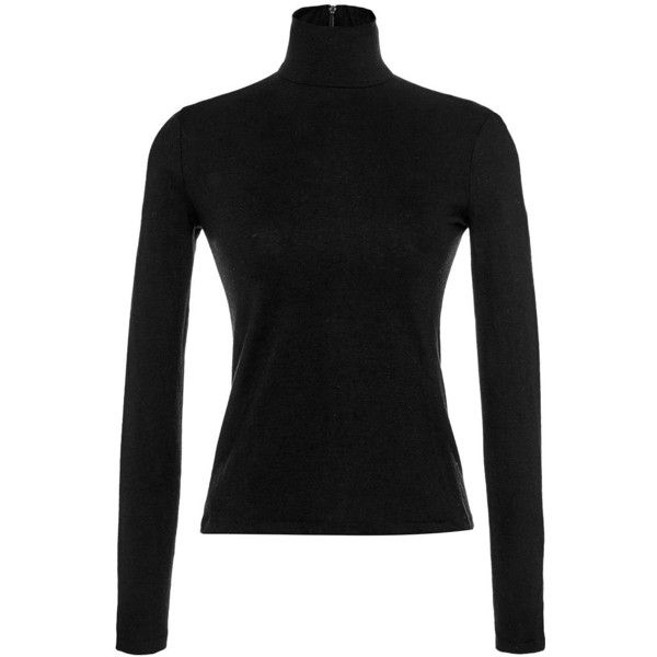 Martin Grant Black Wool Classic Turtleneck Sweater ($380) ❤ liked on Polyvore featuring tops, sweaters, black long sleeve top, fitted sweater, long sleeve tops, long sleeve sweaters and wool sweater
