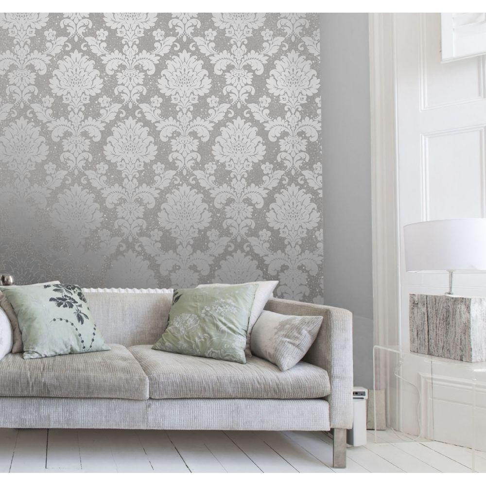 I Love Wallpaper Glisten Damask Wallpaper Pewter Damask