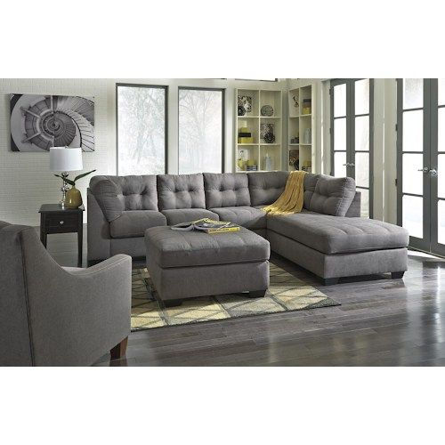 Maier Charcoal 2 Piece Sectional W Sleeper Sofa Amp Right