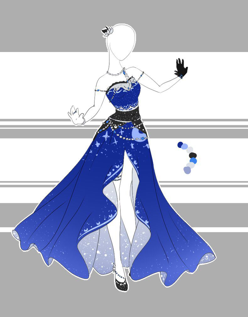 Blue dress anime kimono anime dress dress design drawing dress design sketches