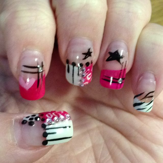Funky Pink And Black Nails