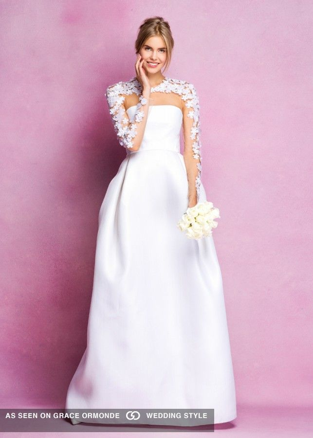 angel sanchez a line wedding dress with floral sleeves fall 2016