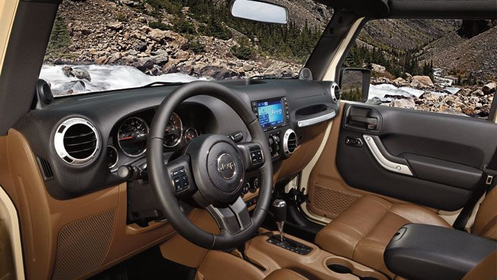 Jeep Wrangler Sahara Shown With Available Premium Leather Trimmed Interior In Dark Saddle