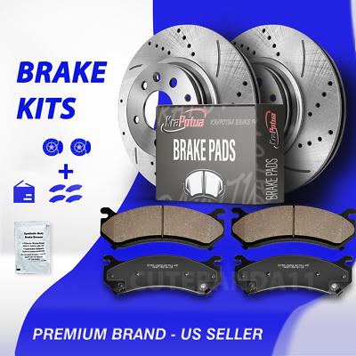 Ceramic Pads For Mazda 6 Ford Fusion MKZ Front+Rear Drill Slot Brake Rotors