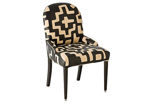 I love the bold pattern on this chair! Cadence Linen Wood Chair