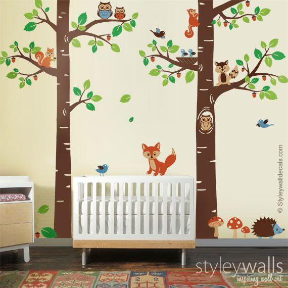 Baum Waldwald Tiere Wandtattoo