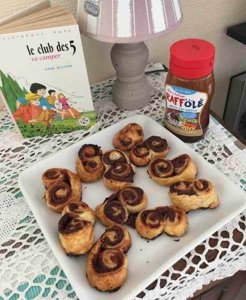 Recette gouter enfant, les Palmiers feuilletés et fourrés à la pâte à tartiner Raff'Olé Chocolat Noisette