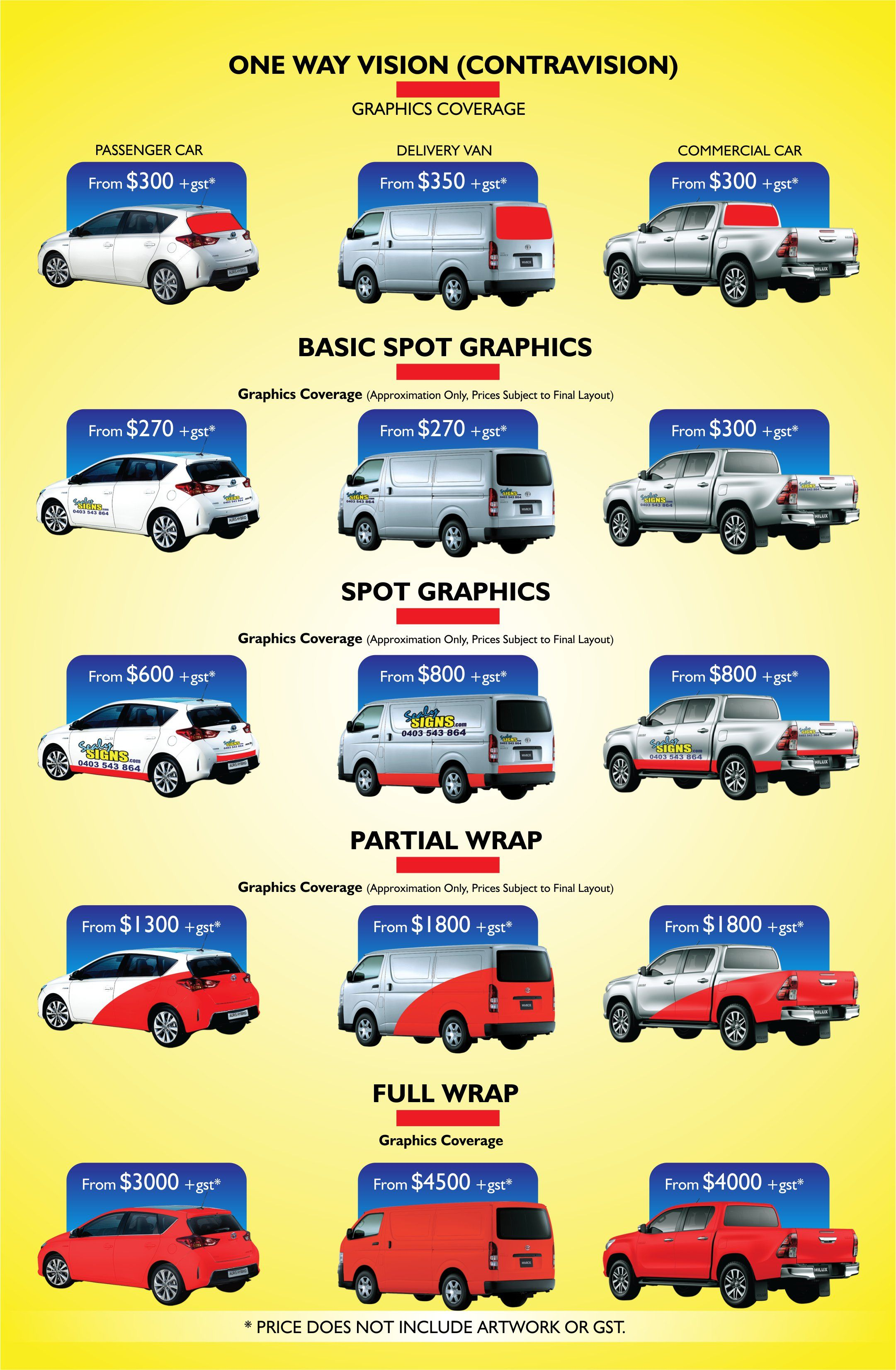 car price signs sealy signs car wrapping price guide