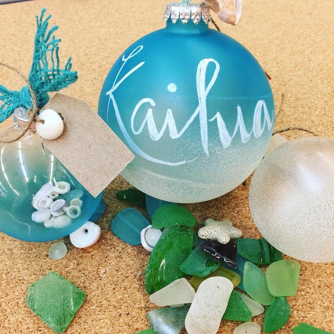 Handmade Ornament Spray Clear Ball With Sea Glass Spray Paint Christmas Ornament Crafts Handmade Ornaments Ornament Crafts