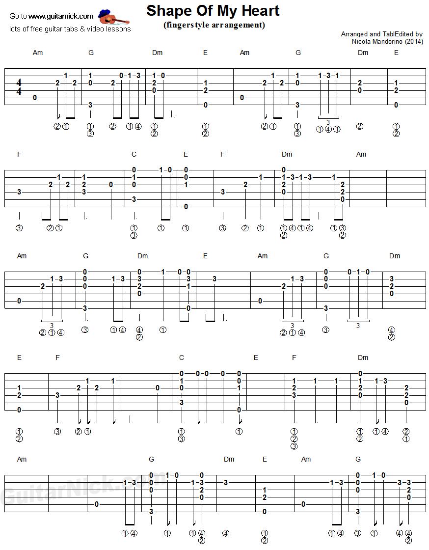 Shape Of My Heart Fingerstyle Guitar Tablature 1 Music