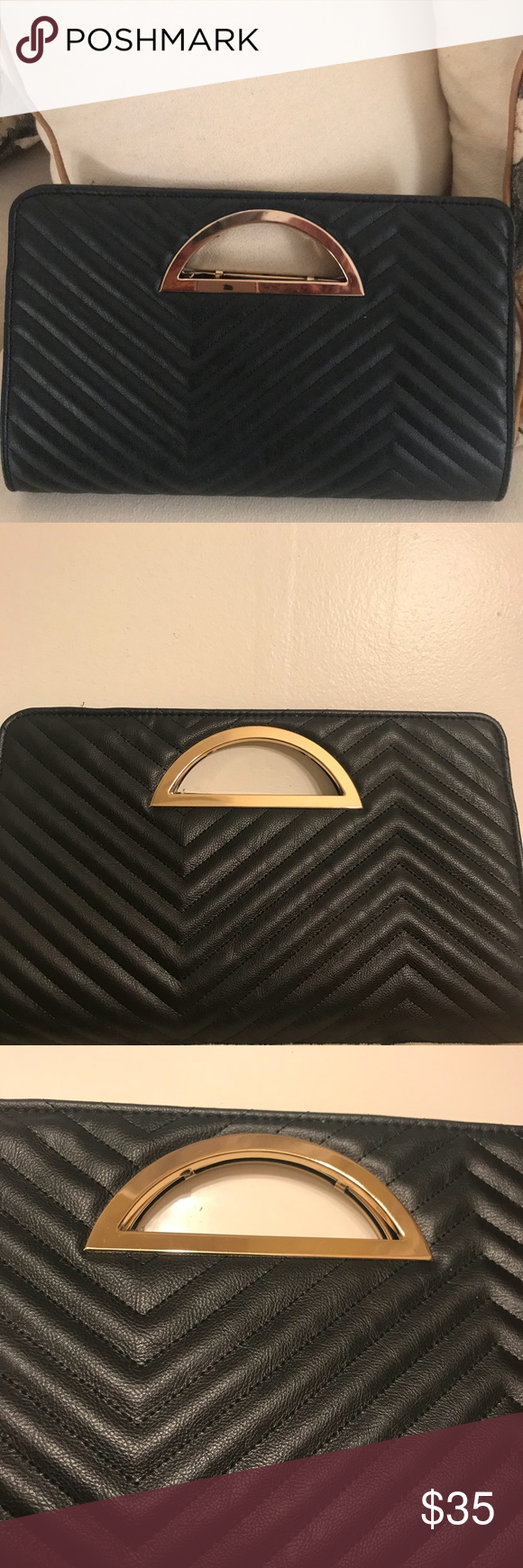 fad383408e Classy Black clutch bag Beautiful and stylish black clutch with gold  handle. Inside has snap closure and pocket. Can fit a nice amount of things  inside.