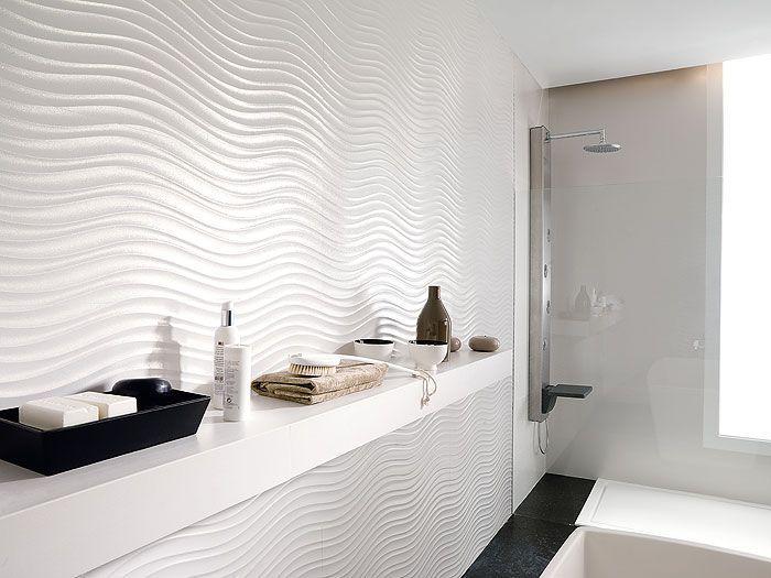 Tiling Inspiration Minimalist Waves Water And Air Modern White Bathroom Modern Bathroom Tile Bathroom Tile Designs