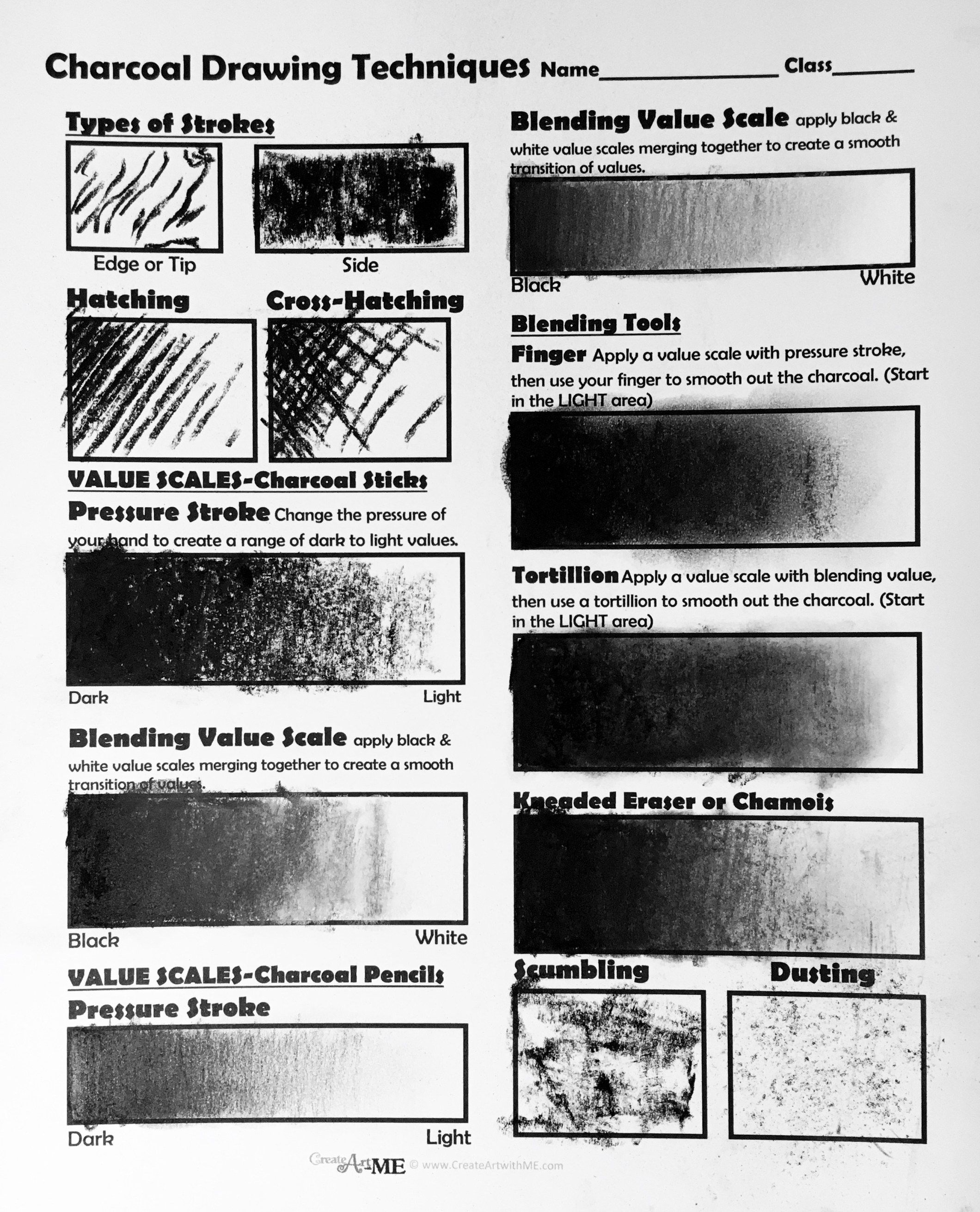 Charcoal Drawing Techniques Lesson Plan Amp Worksheet