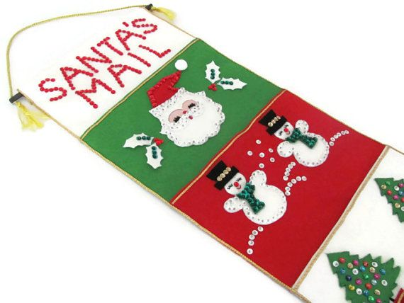 Vintage Christmas Felt Wall Hanging 1960's by ThirstyOwlVintage