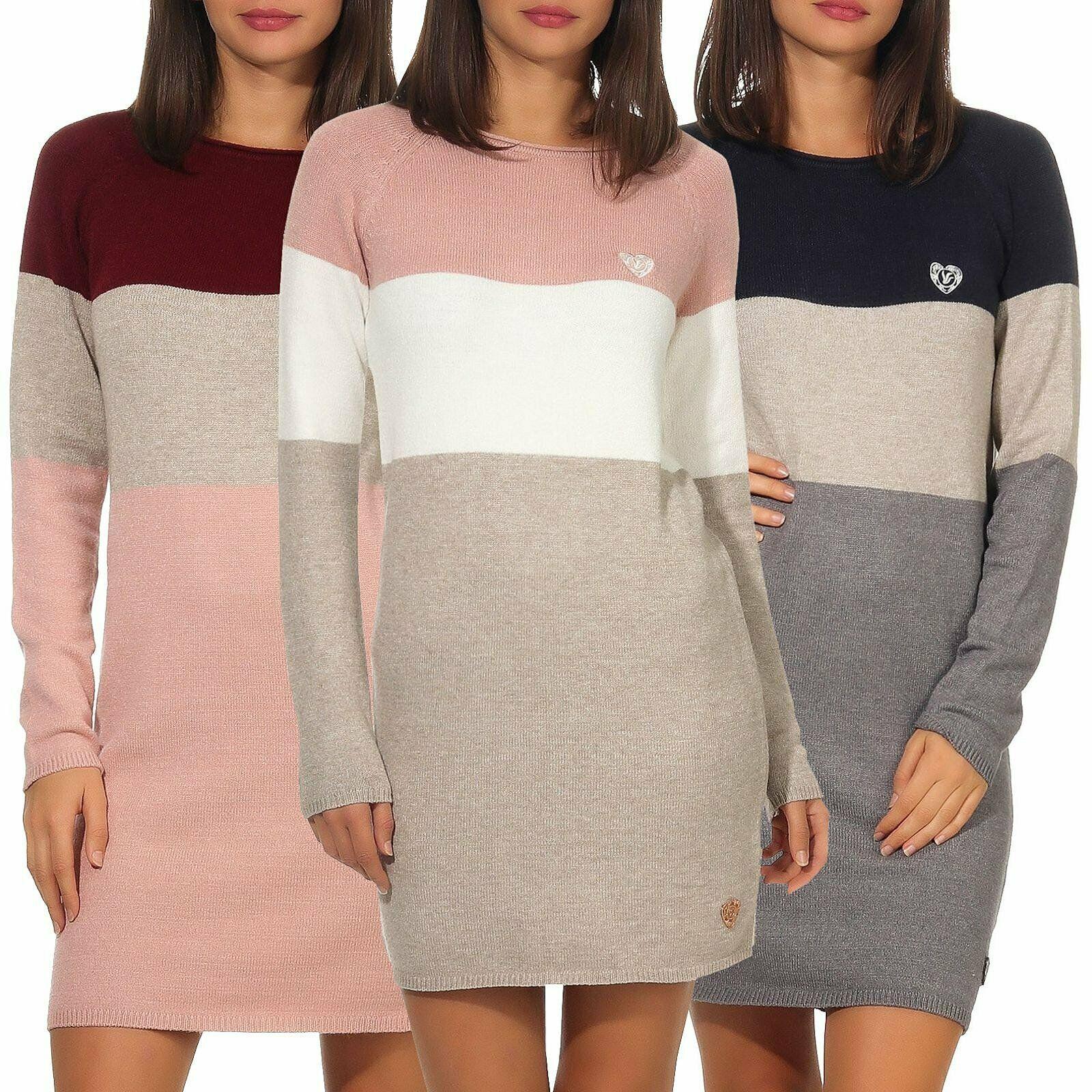 Damen Sweatshirt Pullikleid Minikleid Pullover Kleid Longpullover Longpulli Tops