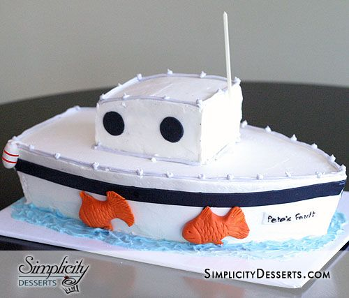 Fine Fishing Boat Birthday Cake With Images Boat Cake Childrens Birthday Cards Printable Trancafe Filternl