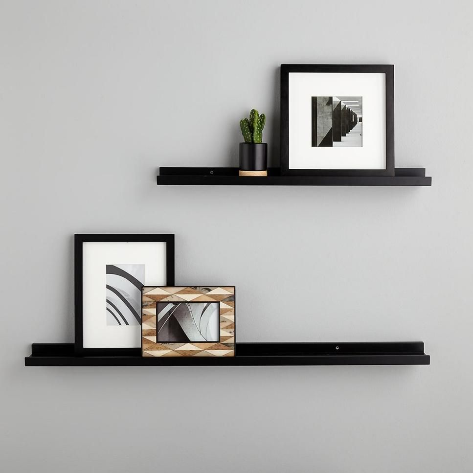 15 Faves To Balance Masculine And Feminine Vibes In The Bedroom Black Wall Shelves Wall Hanging Shelves Floating Wall Shelves