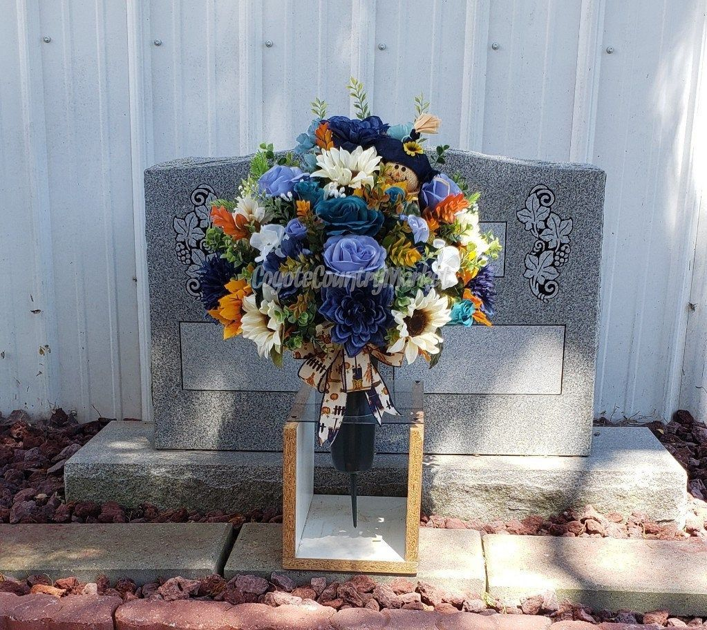 Blue Teal Cream Fall Cemetery Ground Vase With Stake Cemetery Vase With Ground Stake 1 2 Vase Or All Around Arrang In 2020 Memorial Flowers Flower Vases Cemetery Vases