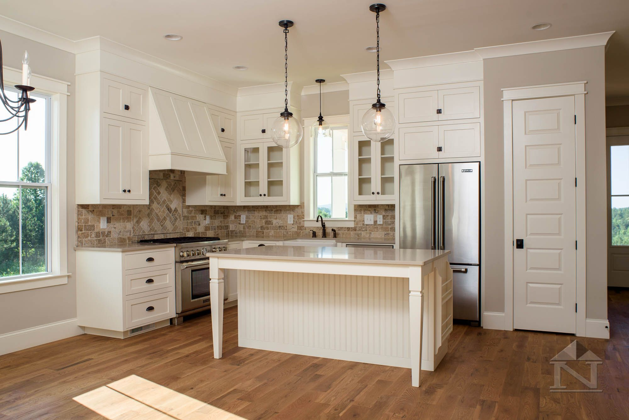 Custom White Kitchen Cabinets In Farmhouse Home Built By North Point Builders Of Shelby Carolina
