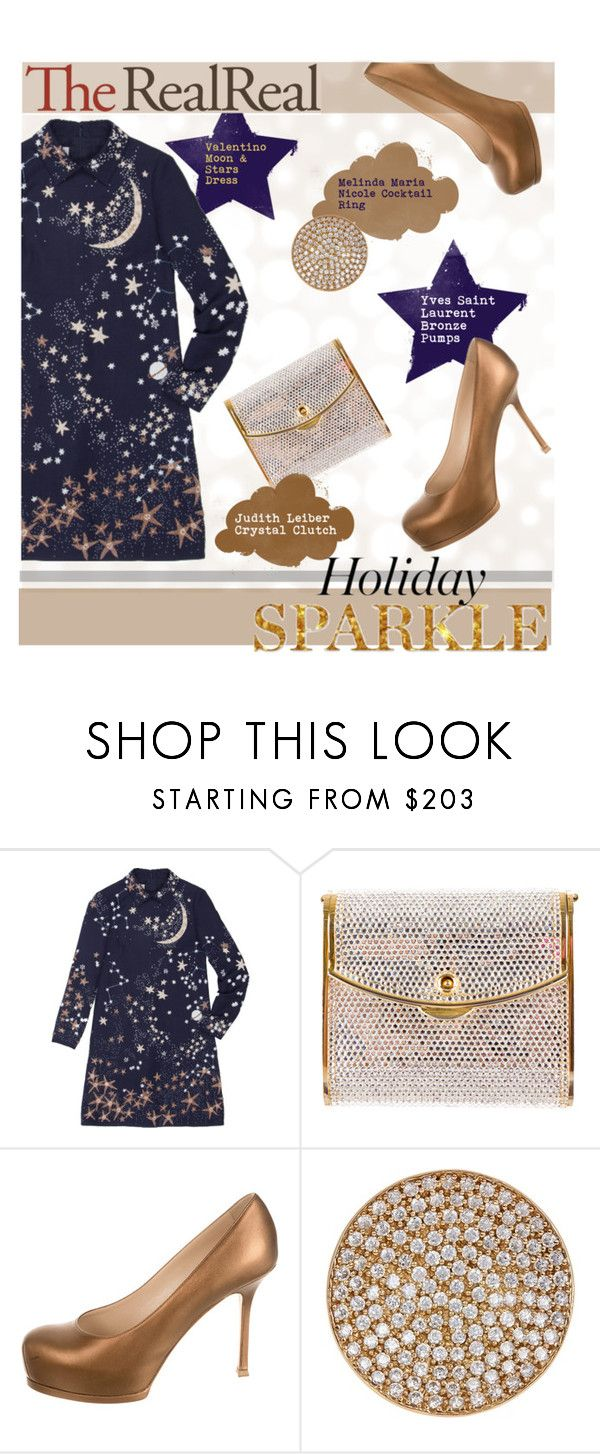 """Holiday Sparkle With The RealReal: Contest Entry"" by grapecrush ❤ liked on Polyvore featuring Valentino, Judith Leiber, Yves Saint Laurent and Melinda Maria"