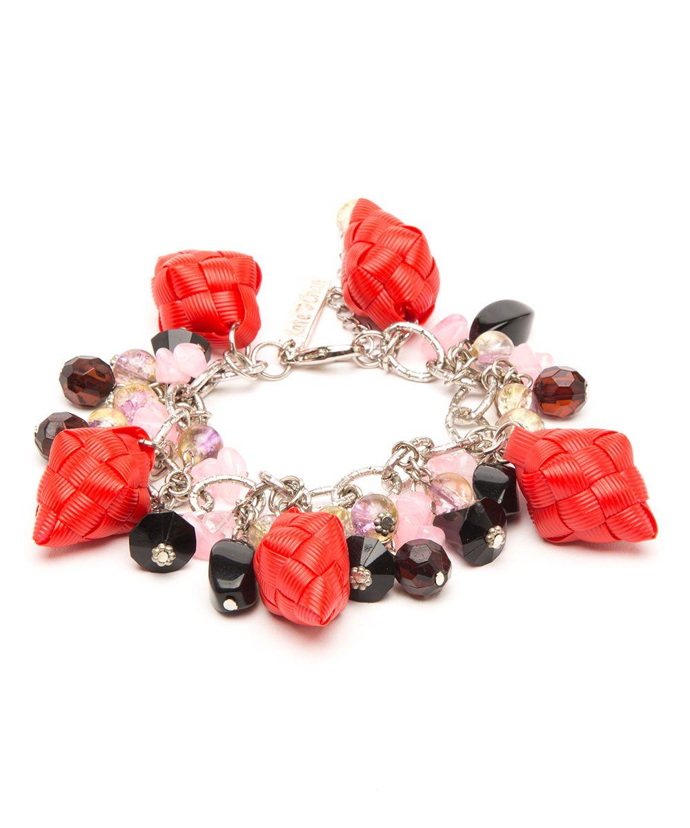 Red Pink Nikki Charm Bracelet Anklet