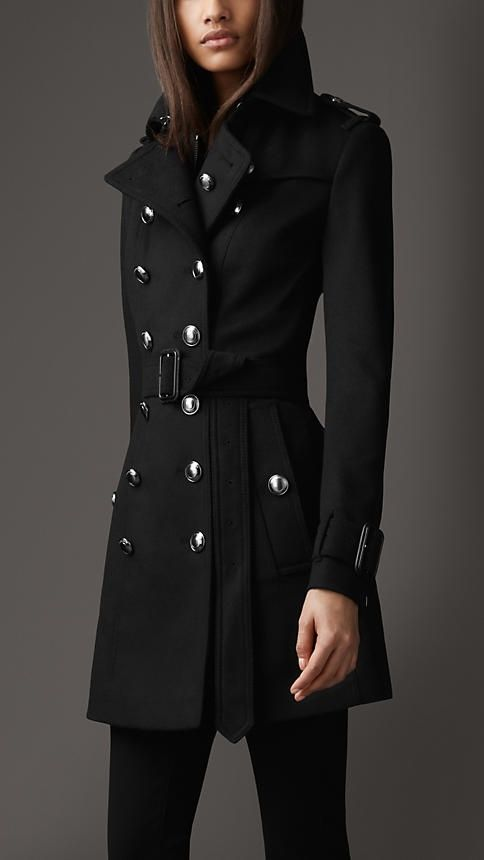 Burberry London Mid-Length Wool Cashmere Trench Coat  63db08575286