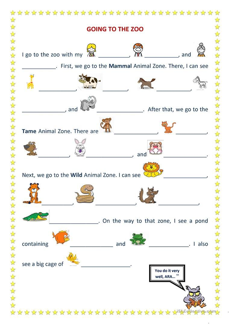 going to the zoo worksheet - Free ESL printable worksheets made by teachers    English lessons for kids [ 1079 x 763 Pixel ]