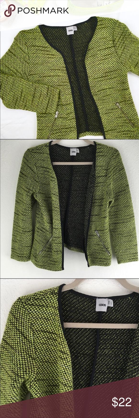 ASOS Neon Bouclé Open Sweater Jacket   Sweater jacket, Open