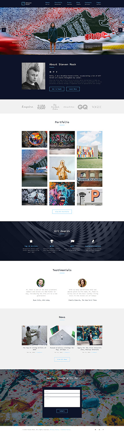 Steven Mosk - Modern artist personal portfolio WordPress Theme ...
